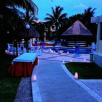 Pool area set up for wedding reception