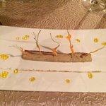 entrée foie gras carottes nomades et billes de mangue...Miam!!!!!!!