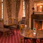Roaring fire in our Bistro restaurant area: all set up for Sunday lunch