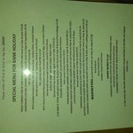 Bank Holiday - Lunchtime Menu
