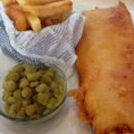 Hake, chips and peas