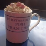 Hot chocolate in Fish Tram Chips mug