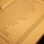 Wine menu at St. Elmo Steak House