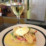 FakinBacon BLT Eggs Benedict with Chardonnay