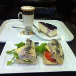 Tuna Mayo with cheese, cafe latte & blueberry cheese cake
