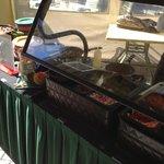 The omelet prep station