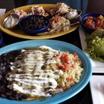 Chicken Enchiladas, Guacamole, Tostadas