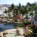Beautiful resort grounds with pools and gardens