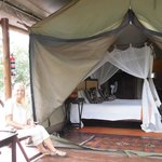 Our covered porch in front of our tent