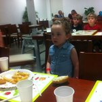 y daughter glued to the tv in the kids restaurant