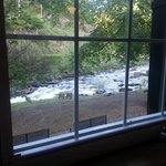View of the river through window of Jasper's Restaurant