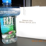 Free water and welcome letter in my room