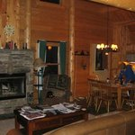 Spacious yet rustic common area in cabin