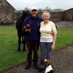 Pat & Gertie with Jeff the horse, Mack the dog and Henrietta the chicken