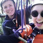 Doing the ziplines and ropes courses at Deep Forest Challenge inside Pt defiance zoo and aquariu