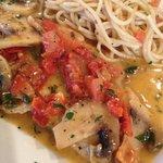 Flounder Romano with Pasta