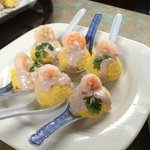 Little spoons Causas with shrimp