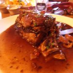 Lamb shoulder in marsala, mushroom and bacon sauce. Out of this world.