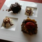4 different types of dessert, including the one with bananas and nuts