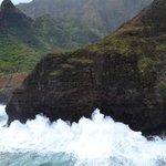 huge crashing waves off the napali coast