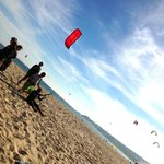 Tormod practising flying the kite under the instruction of Nick.