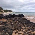 Rocks along the beach.