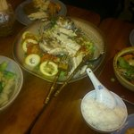 From left to right: squid with broccoli in oyster & soy sauce, steamed whole seabass and prawn h