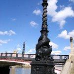 light post along the riverbank walk