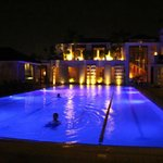 the pool is breath-taking at night, all the lights complement the pool view