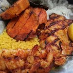 Humdingers MemphisTN. Grilled tilapia,  grilled shrimp,  grilled sweet potato slices and yellow