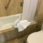 Swan towel in the room