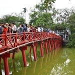 Bridge to the pagoda on the lake