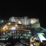 The night time view over the Castel dell'Ovo from our room