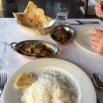 Navrattan Kurmah and Beef Vindaloo, added extra paratha.