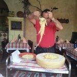 Tagliatelle im Parmesanlaib werden  zum Flambieren vorbereitet