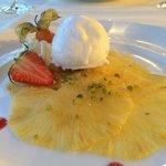 Decent pineapple carpaccio and coconut ice cream