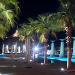 view over the pool area at night