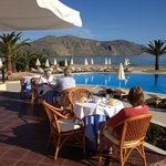 breakfast overlooking the pool and sea