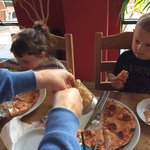 Happy customers, kids pizzas