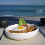 Breakfast 'Nasi Goreng' with beach view