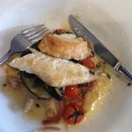 sauted flathead w canellini beans, aubergine and cherry tomatoes