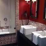 Bathroom, twin sinks and bath/shower