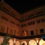 Hotel interior courtyard at night