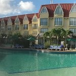 Panoramic view of hotel and pool