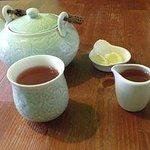 Caramel Passion tea, honey and lemon