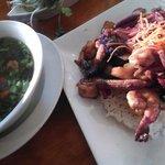 Shrimp soup, and shrimp clay pot! Yummy!!