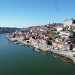 Beautiful view of Cais da Ribeira as seen from D. Luís Bridge in O Porto