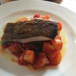 Pan fried cod and chorizo