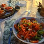 Bruschetas and Salad Caprese (120 baht each)
