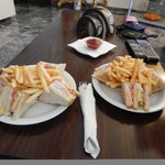 Lunch time snacks available from the bar - club sandwich